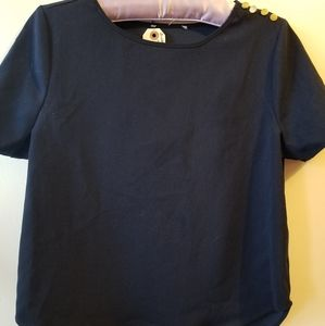Black Short Sleeve Round Neck Shirt with Buttons